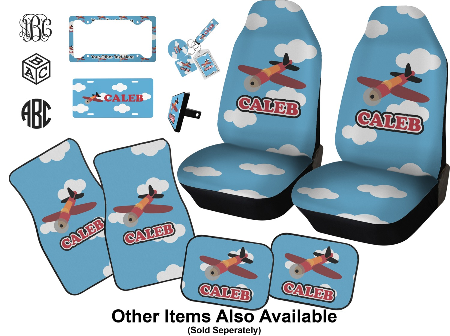 Airplane Car Accessories Set Personalized