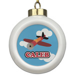 Airplane Ceramic Ball Ornament (Personalized)