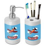 Airplane Bathroom Accessories Set (Ceramic) (Personalized)