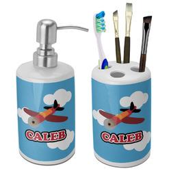 Airplane Bathroom Accessories Set (Ceramic) (Personalized)
