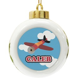 Airplane Ceramic Ball Ornament (Personalized)