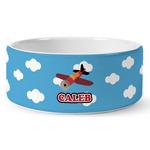 Airplane Ceramic Dog Bowl (Personalized)