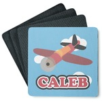Airplane 4 Square Coasters - Rubber Backed (Personalized)