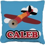 Airplane Faux-Linen Throw Pillow (Personalized)