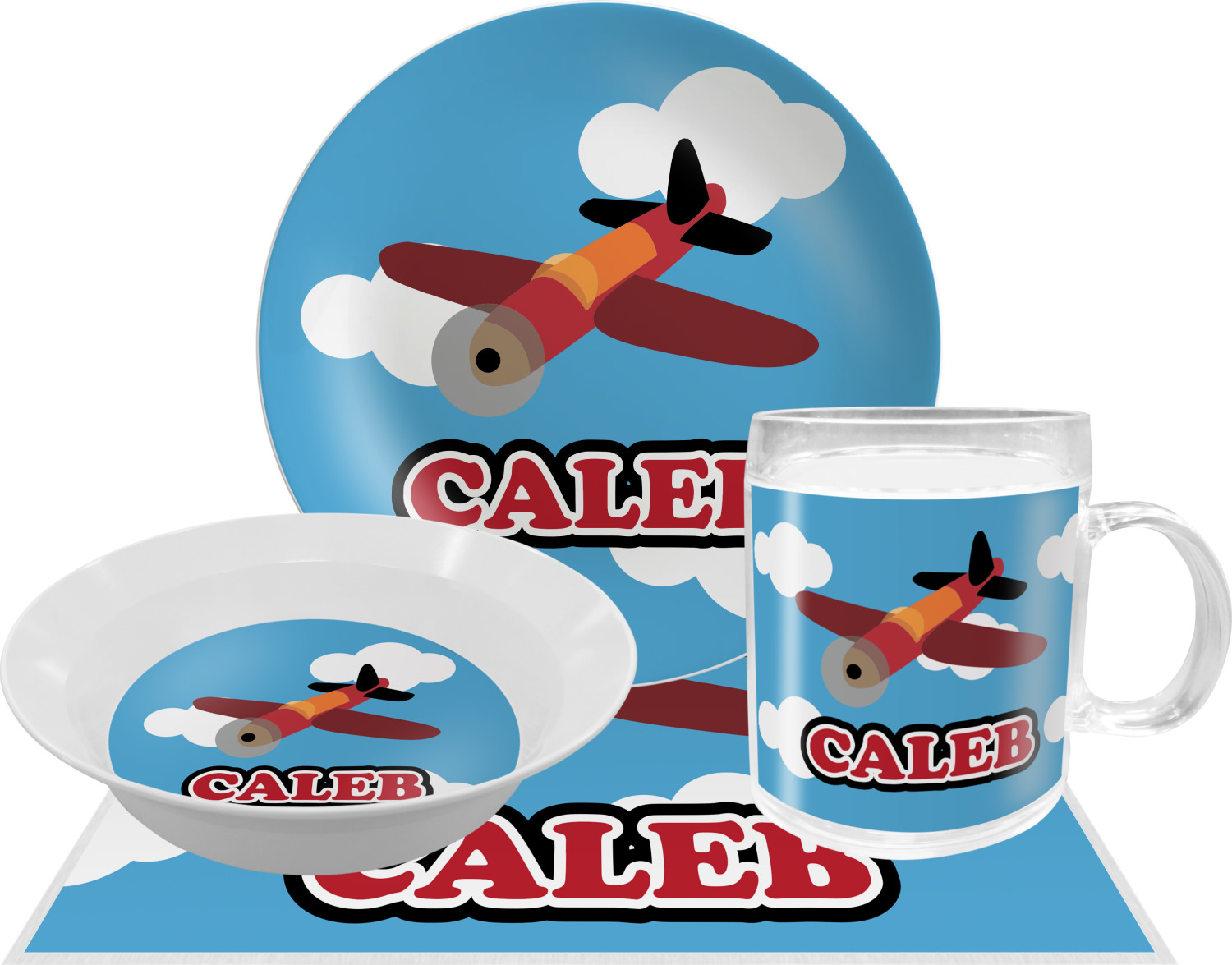 Airplane Dinner Set - 4 Pc (Personalized)  sc 1 st  YouCustomizeIt & Airplane Dinner Set - 4 Pc (Personalized) - YouCustomizeIt