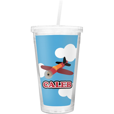 Airplane Double Wall Tumbler with Straw (Personalized)