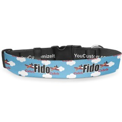 "Airplane Deluxe Dog Collar - Large (13"" to 21"") (Personalized)"