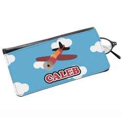 Airplane Genuine Leather Eyeglass Case (Personalized)