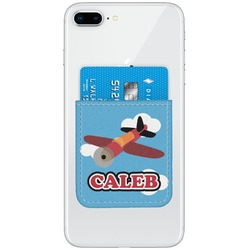 Airplane Genuine Leather Adhesive Phone Wallet (Personalized)