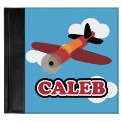 Airplane Genuine Leather Baby Memory Book (Personalized)