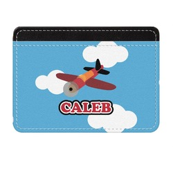 Airplane Genuine Leather Front Pocket Wallet (Personalized)