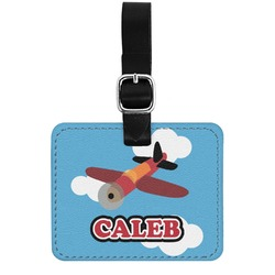 Airplane Genuine Leather Luggage Tag w/ Name or Text