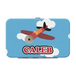 Airplane Genuine Leather Small Framed Wallet (Personalized)