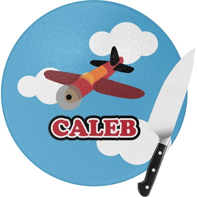 Airplane Round Glass Cutting Board (Personalized)