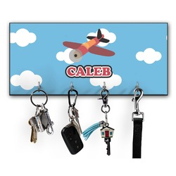 Airplane Key Hanger w/ 4 Hooks w/ Graphics and Text