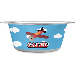 Airplane Stainless Steel Dog Bowl (Personalized)