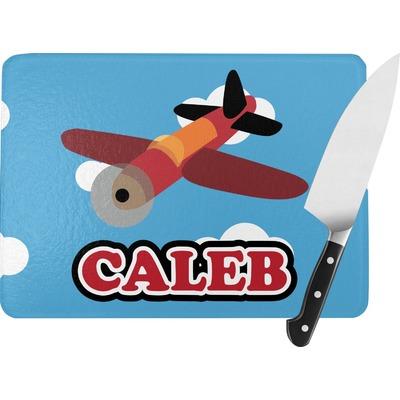 Airplane Rectangular Glass Cutting Board (Personalized)