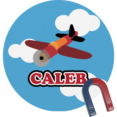 Airplane Round Fridge Magnet (Personalized)