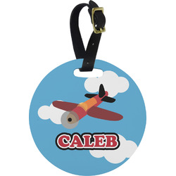 Airplane Round Luggage Tag (Personalized)