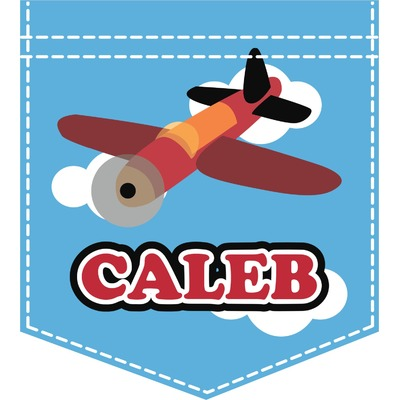 Airplane Iron On Faux Pocket (Personalized)