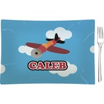 Airplane Glass Rectangular Appetizer / Dessert Plate - Single or Set (Personalized)