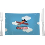 Airplane Glass Rectangular Lunch / Dinner Plate - Single or Set (Personalized)