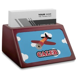 Airplane Red Mahogany Business Card Holder (Personalized)