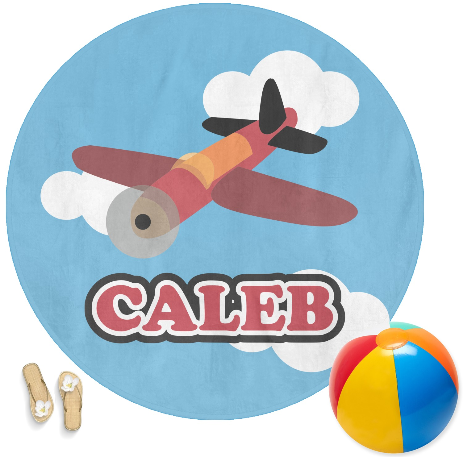 Airplane Round Beach Towel Personalized Youcustomizeit