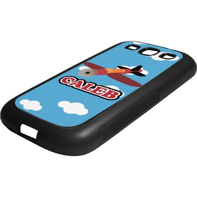 Airplane Rubber Samsung Galaxy 3 Phone Case (Personalized)