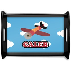 Airplane Black Wooden Tray (Personalized)