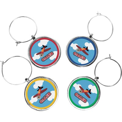 Airplane Wine Charms (Set of 4) (Personalized)