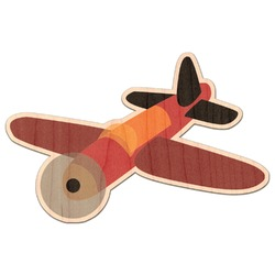 Airplane Genuine Maple or Cherry Wood Sticker (Personalized)