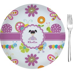 "Butterflies Glass Appetizer / Dessert Plates 8"" - Single or Set (Personalized)"