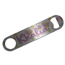 Butterflies Bar Bottle Opener - Silver w/ Name or Text