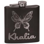 Butterflies Black Flask (Personalized)