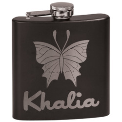 Butterflies Black Flask Set (Personalized)