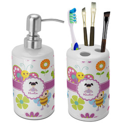 Butterflies Bathroom Accessories Set (Ceramic) (Personalized)