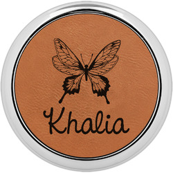 Butterflies Leatherette Round Coaster w/ Silver Edge - Single or Set (Personalized)