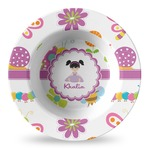 Butterflies Plastic Bowl - Microwave Safe - Composite Polymer (Personalized)
