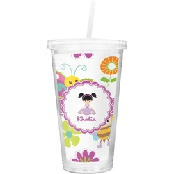 Butterflies Double Wall Tumbler with Straw (Personalized)