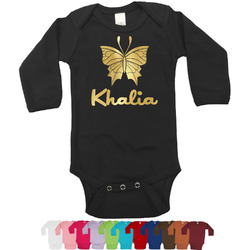 Butterflies Foil Bodysuit - Long Sleeves - 6-12 months - Gold, Silver or Rose Gold (Personalized)
