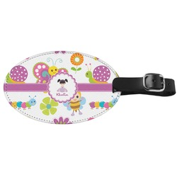 Butterflies Genuine Leather Oval Luggage Tag (Personalized)