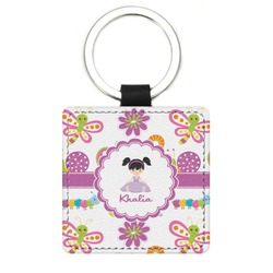 Butterflies Genuine Leather Rectangular Keychain (Personalized)