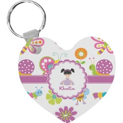 Butterflies Heart Plastic Keychain w/ Name or Text