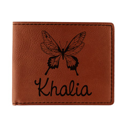 Butterflies Leatherette Bifold Wallet (Personalized)