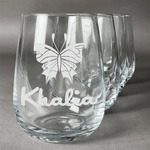 Butterflies Stemless Wine Glasses (Set of 4) (Personalized)