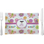 Butterflies Glass Rectangular Lunch / Dinner Plate - Single or Set (Personalized)