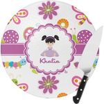 Butterflies Round Glass Cutting Board (Personalized)
