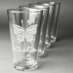 Butterflies Beer Glasses (Set of 4) (Personalized)