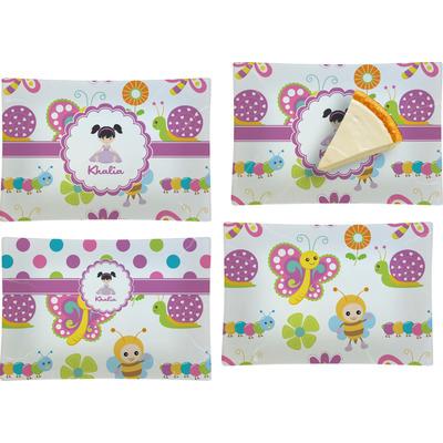 Butterflies Set of 4 Glass Rectangular Appetizer / Dessert Plate (Personalized)